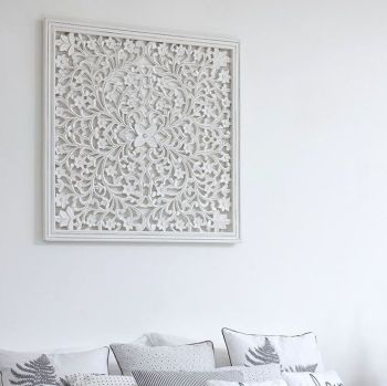 Hand Carved Decorative White Wooden Panel Framed Edge - 75 cm square