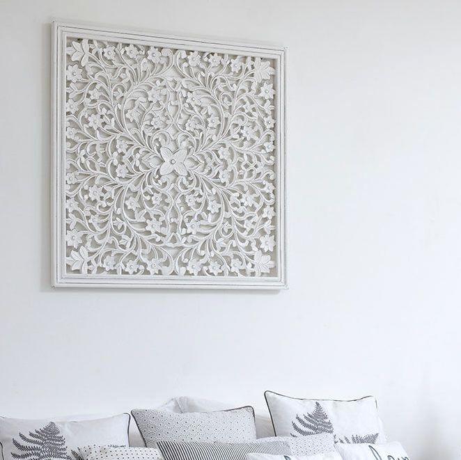 Hand Carved Decorative White Wooden Panel - Medium
