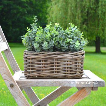 Rattan Wicker Windowbox Basket Planter / Plant Pot - Natural - 20 cm L