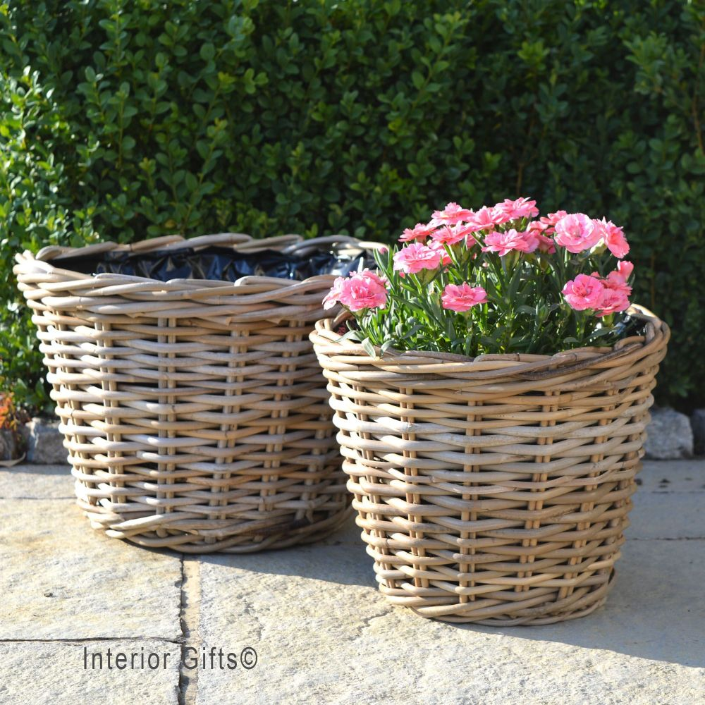 Rattan Wicker Basket Planter / Plant Pot  Low  - Natural