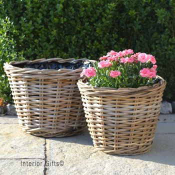 Rattan Wicker Basket Planter / Plant Pot Low - Natural - FROM: