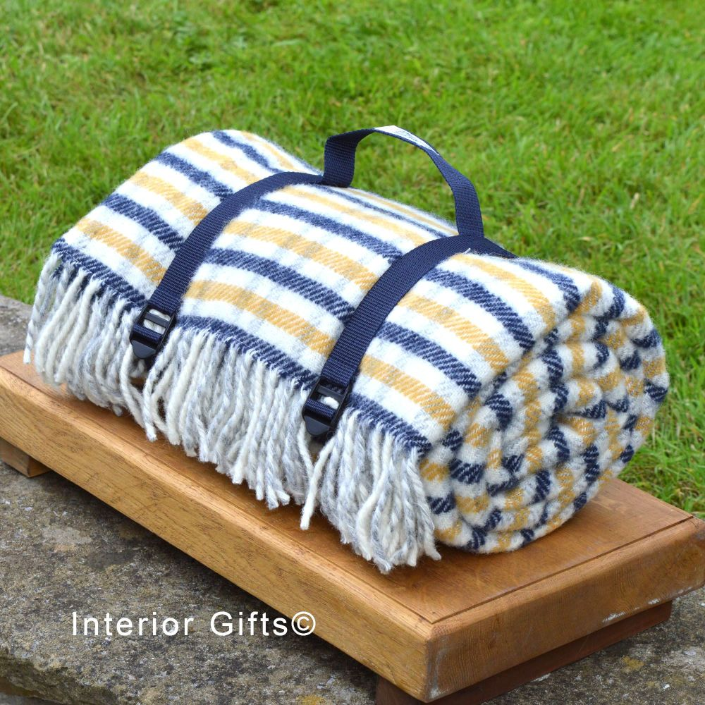 WATERPROOF Backed Wool Picnic Rug in Blue/Yellow Check with Practical Carry