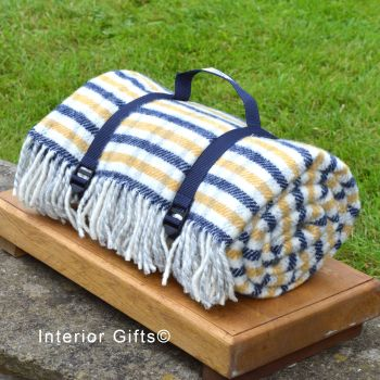 WATERPROOF Backed Wool Picnic Rug in Blue/Yellow Check with Practical Carry Strap