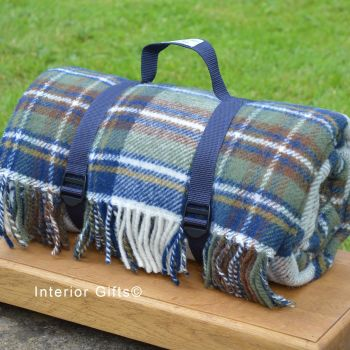 WATERPROOF Backed Wool Picnic Rug / Blanket in Classic Country Blue Check with Webbing Carry Strap
