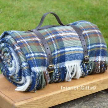 WATERPROOF Backed Wool Picnic Rug / Blanket in Classic Country Blue Check with Leather Carry Strap