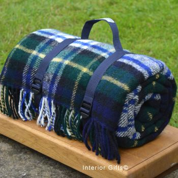 WATERPROOF Backed Wool Picnic Rug / Blanket in Classic Country Plaid Check with Webbing Carry Strap