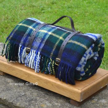 WATERPROOF Backed Wool Picnic Rug / Blanket in Classic Country Plaid Check with Leather Carry Strap