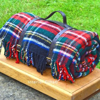 WATERPROOF Backed Wool Picnic Rug / Blanket in Classic Country Red Check with Leather Carry Strap