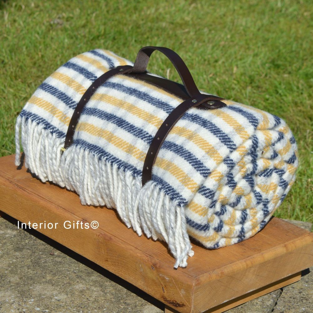 WATERPROOF Backed Wool Picnic Rug in Blue/Yellow Check with Leather Carry S