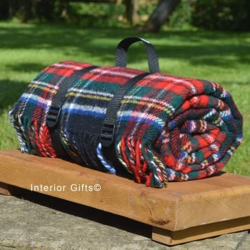 WATERPROOF Backed Wool Picnic Rug / Blanket in Classic Country Red Check with Practical Carry Strap
