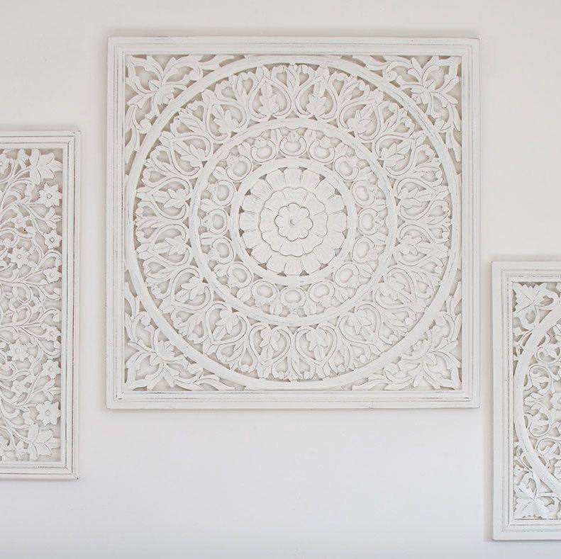 Hand Carved Decorative White Wooden Panel Framed Edge - 80cm square