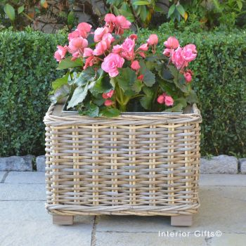 Rattan Wicker Basket Square Planter  with Metal Liner - Natural - 32 cm H