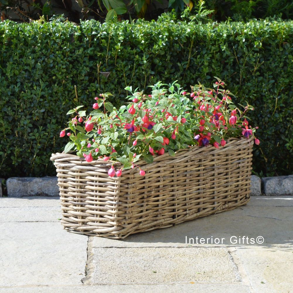 Rattan Wicker Windowbox Basket Planter / Plant Pot  - Natural - 60 cm L