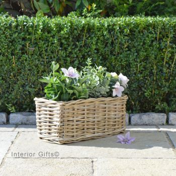 Rattan Wicker Windowbox Basket Planter / Plant Pot  - Natural - 40cm L