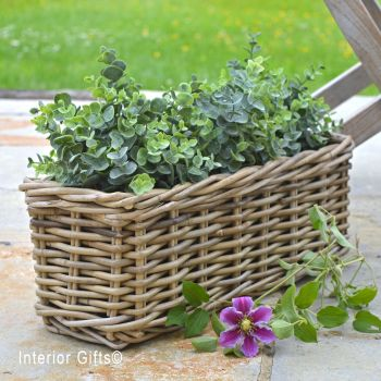 Rattan Wicker Windowbox Basket Planter / Plant Pot  - Natural - 45 cm L