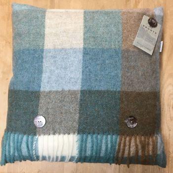 BRONTE by Moon Cushion - Harlequin Aqua Blue / Green Check Shetland Wool