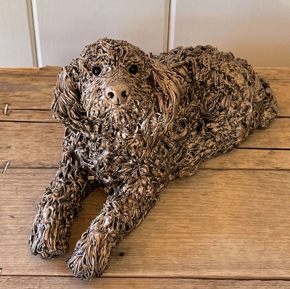 JAKE LABRADOODLE Lying Frith Bronze Sculpture by Veronica Ballan *NEW*