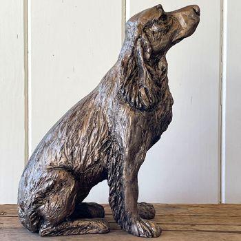 WINSTON Springer Spaniel Sitting Frith Bronze Sculpture by Harriet Dunn