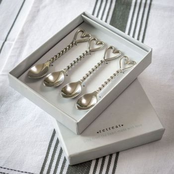 Twisted Heart Tea Spoons - set of four - Gift Boxed