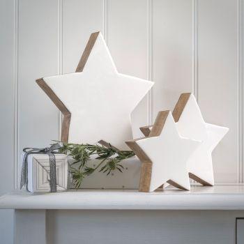Three Enamel Faced Wooden Standing Stars -White