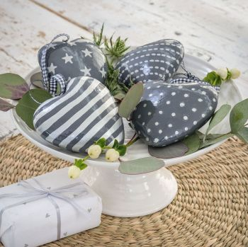 Three Decorative Solid Grey Painted Wooden Hanging Hearts - small