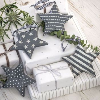 Three Decorative Solid Grey Painted Wooden Hanging Stars - small