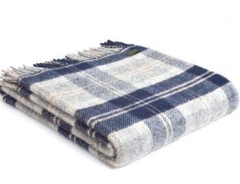 Tweedmill Bannockbane Tartan Check Blue Picnic / Throw / Travel Rug / Blanket