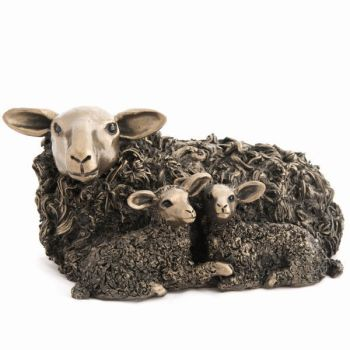Ewe with Twin Lambs Frith Bronze Sculpture by Veronica Ballan