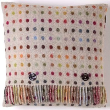 BRONTE by Moon Cushion - Beige Colour Spot Merino Lambswool