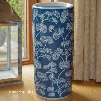 Ceramic Umbrella Stand in Botanical Blue and Cream