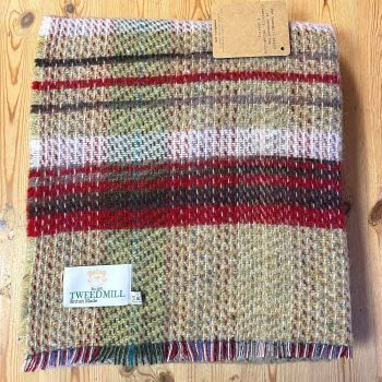 Woollen Recycled LARGE Throw / Blanket / Picnic Rug - Cranberry/Sage Mix