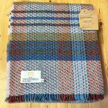 Woollen Recycled LARGE Throw / Blanket / Picnic Rug - Sky Blue
