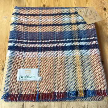 Woollen Recycled LARGE Throw / Blanket / Picnic Rug -  Blue Mix