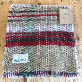Woollen Recycled LARGE Throw / Blanket / Picnic Rug - Cranberry/Lavender/Sage