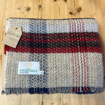 Woollen Recycled Throw / Blanket / Picnic Rug in Cranberry/Charcoal/Neutral Mix