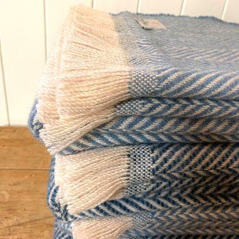 Tweedmill Recycled Herringbone Heavyweight LARGE Throw / Blanket  - Shades of Blue