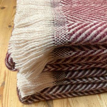 Tweedmill Recycled Herringbone Heavyweight LARGE Throw / Blanket  - Shades of Dark Pink