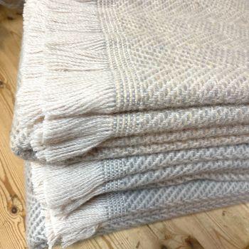 Tweedmill Recycled Herringbone Heavyweight LARGE Throw / Blanket  - Shades of Natural/Pale Neutrals
