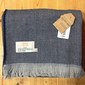 Tweedmill Recycled Herringbone Throw - Lightweight Blanket / Rug in Navy Blue