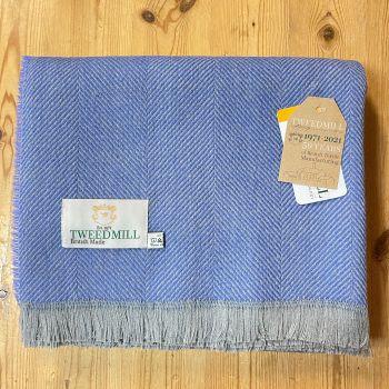 Tweedmill Recycled Herringbone Throw - Lightweight Blanket / Rug in Sky Blue