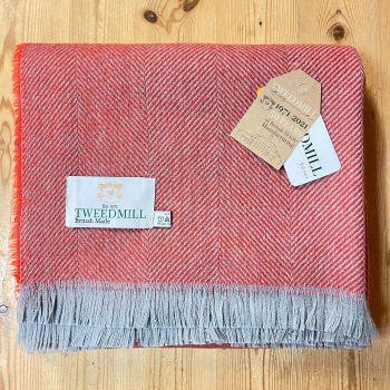Tweedmill Recycled Herringbone Throw - Lightweight Blanket / Rug in Coral Red