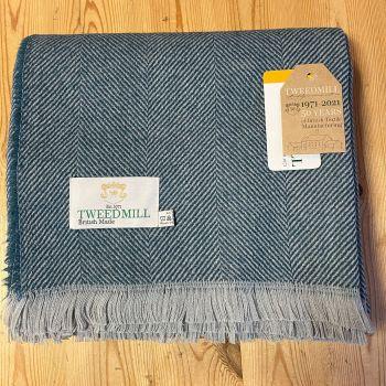 Tweedmill Recycled Herringbone Throw - Lightweight Blanket / Rug in Teal