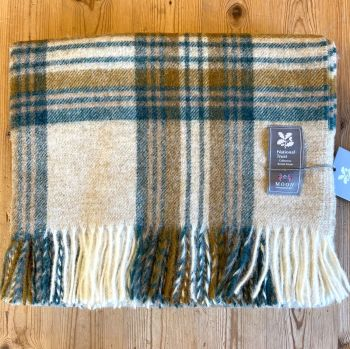 BRONTE by Moon Beige, Teal and Gold Check Throw in Shetland Pure New Wool