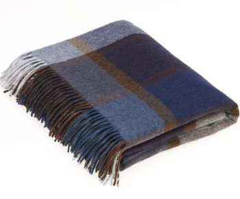BRONTE by Moon Country House Check Blue Throw in supersoft Merino Lambswool