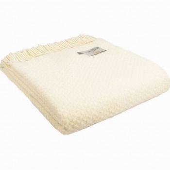 Tweedmill Cream Basketweave Knee Rug or Small Blanket Throw Pure New Wool