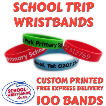 SCHOOL TRIP WRISTBANDS X 100 pcs