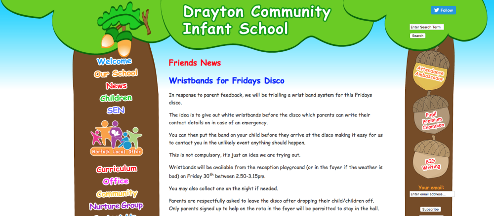 Drayton Community Infant School disco wristbands