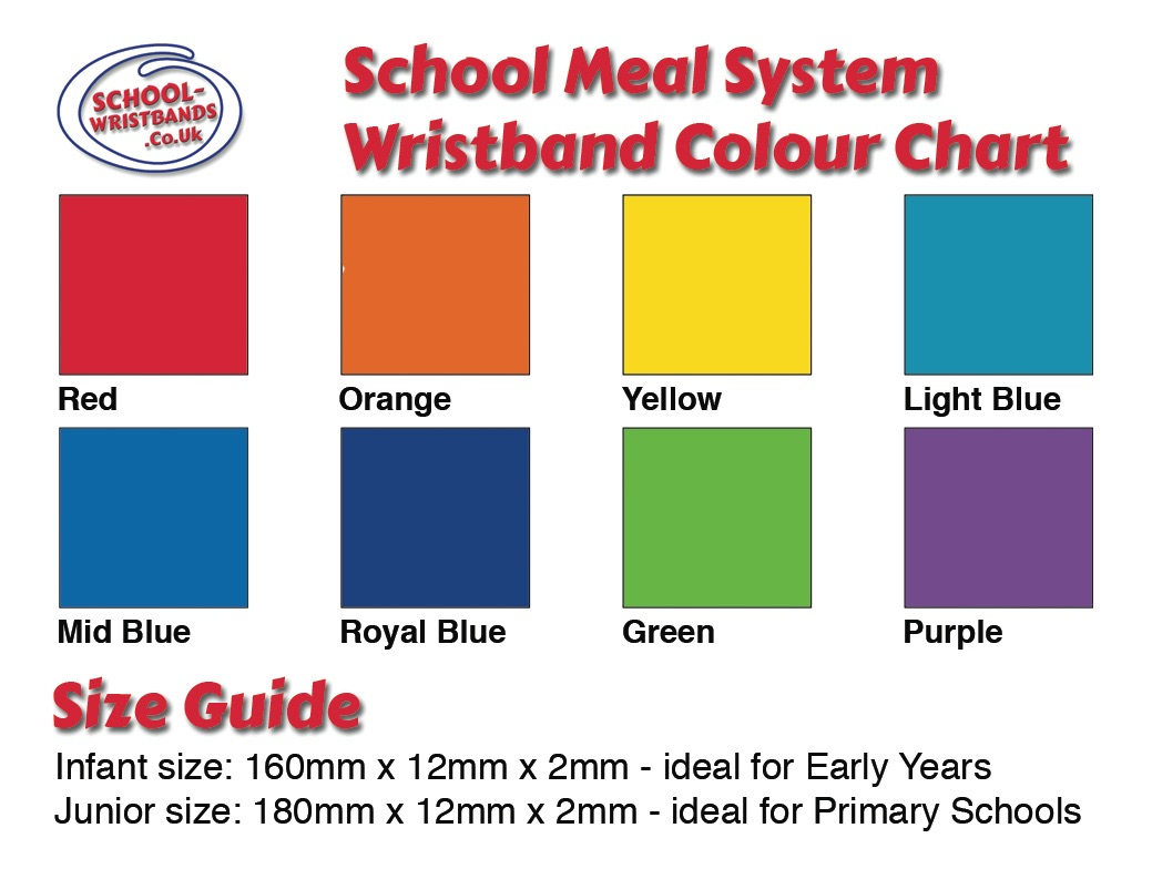 Dinner Bands colours & size guide