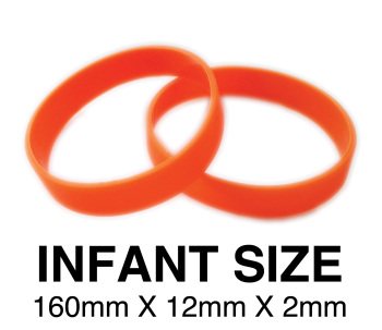 DINNER BANDS - ORANGE - INFANT  X 50 pcs. Includes express delivery.