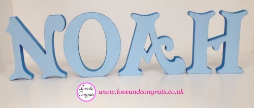 Wooden Name Block - Blues - From £15 for first 3 letters